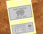 20 Elephant Chevron Baby Shower Popcorn Wrappers