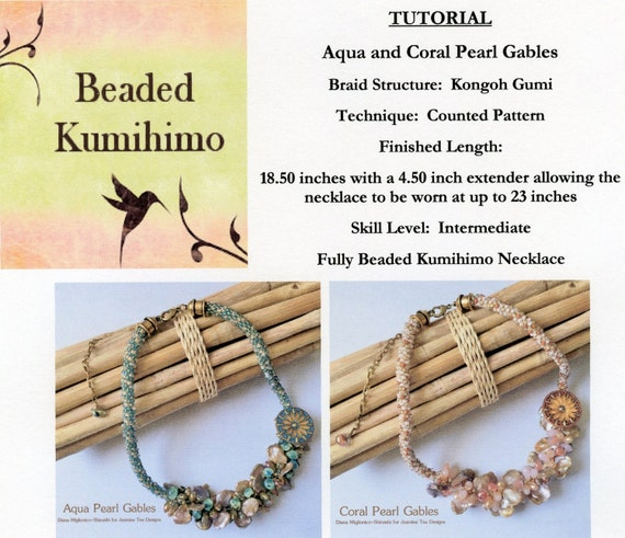 Aqua And Coral Gables Tutorial, Fully Beaded Kumihimo Necklace, Beaded Kumihimo Tutorial, As Seen In Kumihimo Fiber And Bead Jewelry