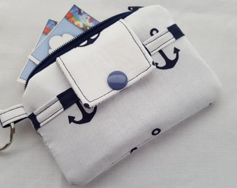Zipper Mini Wallet Pouch Key Chain Card holder -  Ship Anchors