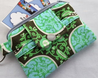 Zipper Mini Wallet Pouch Key Chain Card holder - Amy Bulter Locust Collection Green