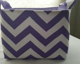 Organizer Storage Basket Bin Container Fabric - Chevron Purple Lavender Zig Zag