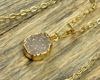 Small Druzy Necklace, Small Druzy Pendant, Gold Druzy Necklace, Gold Druzy Pendant, Natural Druzy Necklace, Pale Druzy, 14k Gold Fill Chain