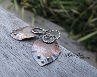 Earthy Organic Textured Copper Earrings, Mixed Metal Earrings, Metalsmith, Sterling Silver Earwires
