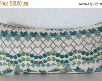 ON SALE Blue and green ikat decorative pillow cover - 8x16 - Southwestern ikat accent pillow cover