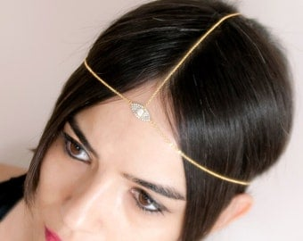 Dainty Head Chain for Wedding Party   Gift For Her   Hair Jewelry for Bridal   Gold Head Piece with CZ   Delicate Gold Chain Headband