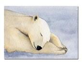 Original ACEO Watercolor Painting, Dreaming Polar Bear, Animal Miniature Art, Bear Art, Winter, Art Card, Collectables