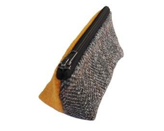 Harris Tweed make-up bag in herringbone & bright yellow with water-resistant lining