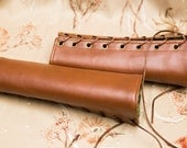SMALL chestnut brown Bracers Cuffs with brown laces and green lining (PAIR)
