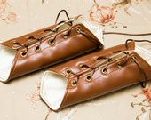 SMALL chestnut brown pleather Short Pointy Bracers with brass Grommets and brown Laces (PAIR)