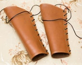 SMALL rust chestnut brown pleather rounded Bracers with brass grommets and black (PAIR)