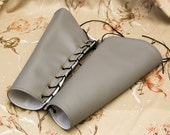 LARGE grey gray pleather Bracers Brass Grommets and black Lace Cuffs Gauntlets Vanguards Cosplay Costume (PAIR)