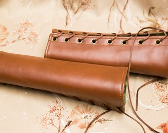 SMALL chestnut brown Bracers Cuffs with brown laces and green lining (PAIR) dnd dungeons and dragons steampunk larping elven armor fantasy