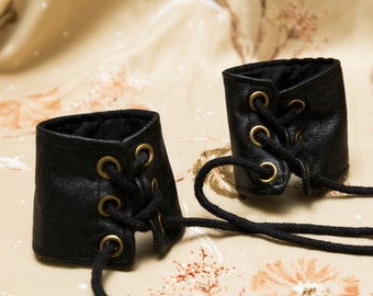 EXTRA SMALL Black patchwork leather Bracers Cuffs Gauntlets Vanguards Cosplay Costume (PAIR) dungeons and dragons steampunk warrior larping
