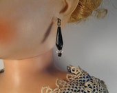 vintage black faceted glass beads with cut glass spacers Jumeau Bru French Italian German fashion dolls