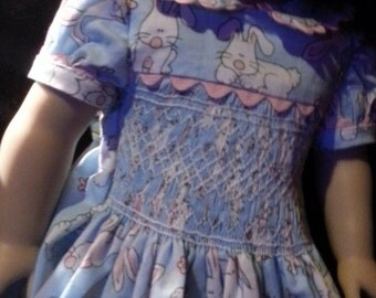 l Handmade Heirloom American Girl 18in Doll Smocked Party Dress