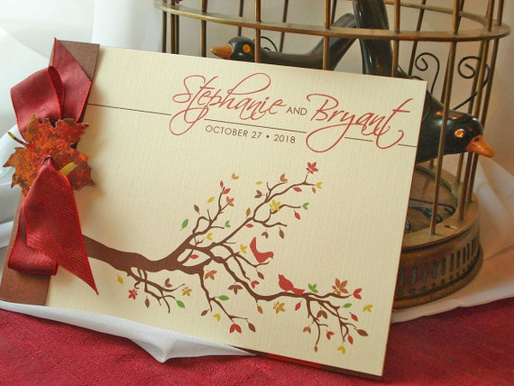 Autumn Love Birds Branches and Leaves Booklet Wedding Invitation... SAMPLE