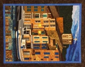 Port of Cassis III Original Fiber Art by Lenore Crawford