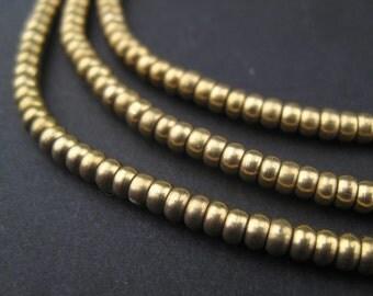 300 Matte Brass Heishi Beads - 3mm Metal Beads - Brass Spacers - Metal Spacers - Metal Disc Beads - Jewelry Supplies (MET-HSHI-SLV-151)