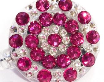 Fuchsia Pink Swarovski Crystal Embellished ID Badge Reel