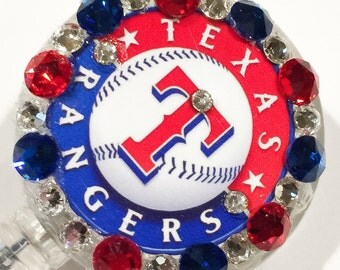 Texas Rangers Swarovski Crystal Embellished ID Name Tag Retractable Badge Reel