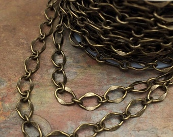 3ft Matte Antique Brass Hammered Galeria Chain Bestseller