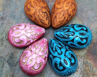 6 PC Royal Damask Beads in Color Choice