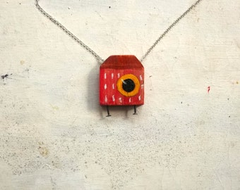 red wooden house necklace with big eyes - ooak - wooden jewelry