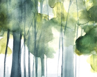 Landscape Painting - Grove II - Watercolor - 11x14 Giclee Print of Original Painting - Landscape with Green Trees - Birch Trees