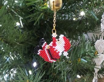 Beadwork Christmas ornament, bell ringing santa, hanging santa bead weaving jingle bell holiday tree decoration