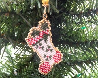 Christmas Stocking with checkered toe heal and holly springs ornament Tree Decoration in freehand beadwork loom stitch with custom hanger