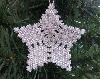 Christmas Snowflake Star, Star Ornament, Tree Decoration, Snow White and crystal peyote stitch with custom hanger filigree open pattern