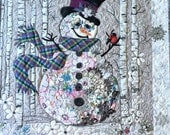 MarveLes COLLAGE PATTERN Floral Frosty Snowman Christmas Woodland Style Snowy Woods Aspen Tree White Plaid