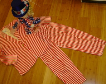 Mrs Uncle Sam red white stripe jacket pants hat womens sz M Halloween costume 4th of July