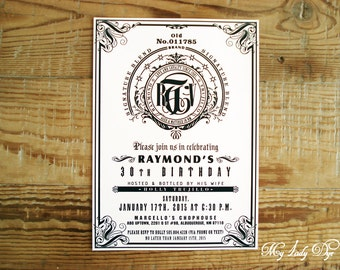 25 Jack Daniels Inspired Birthday Invitations - The Savannah Collection - By My Lady Dye