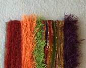 ice yarns SAMPLES fiber art bundle cards purple santana orange polar red eyelash fun fur sparkle crochet knitting left over yarn scrap