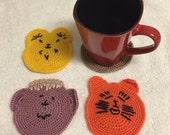 CROCHET coaster cofffe cup pattern yellow brown lilac orange gift idea kitchen home decor CT,USA