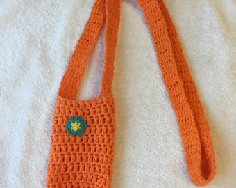 crochet water bottle holder carrier orange with flower long cotton machine washable gift idea drink hiking walking sippy cup
