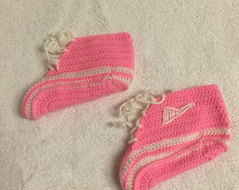 hand crochet 9 -18 months baby boots booties pink light gift idea girl christmas birtyday baby shower girl toddler