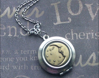 LOCKET Moon Stars, Harvest Moon Locket, Mixed Metal Jewelry, Locket Necklace, Locket For Woman, Handmade, Bride, Wedding, Anniversary Gift