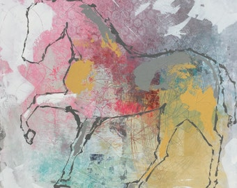 Horse painting, Equestrian canvas painting, Original fine art - Large 36x36 inches Original Acrylic Canvas Painting, Abstract Horse Painting