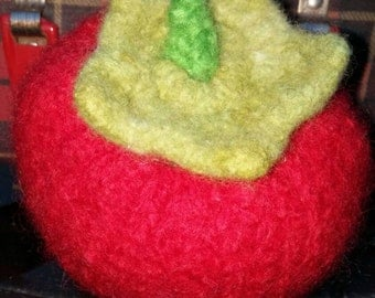 Handknit Tomato Felted Puncushion