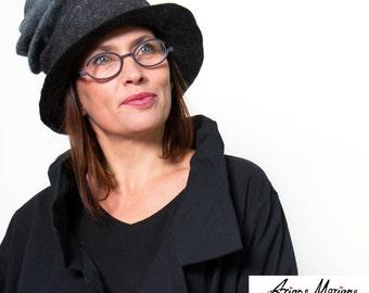 Paris Designer Felt Hat - Gray Women Hat Enchanted Elegant Funky Stylish Piece Unique - Textile Hat Sculpture - Warm Cozy Hat - Paris Design