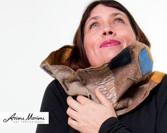 Extra Large Women Wearable Art Cowl - Merino Wool  Felt Scarf - Autumn Winter Neck Piece - Gold, Blue Cooper- Original Geometrical Pattern