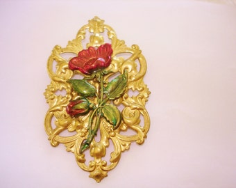 Flower Brooch Red Green Flower Gold Tone
