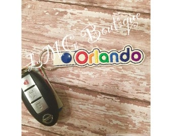 Orlando Pride Key Fob Florida Embroidered Snap Tab Gay Pride, Rainbow colors, Supporting Orlando, Gay pride