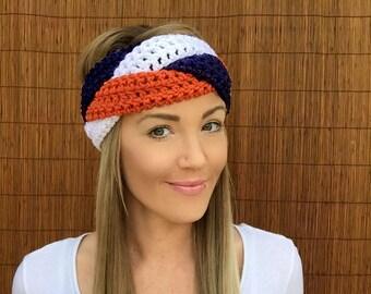 Denver Broncos Navy Blue Orange White Braid Head Hair Accessory Band Earwarmer Football Headband Colorado Fashion Vegan Woman Unisex Men