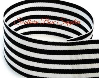2 1/4 inch Grosgrain Ribbon-----20 Yard Roll-----Small Stripes-----Black White------Hair bow Making Supplies