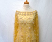 1970s / 80s Vintage Beaded Tulle Top / Yellow Floral Geometric Embellished Top