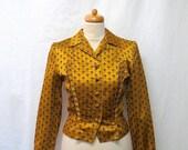 1940s / 50s Vintage Silk Jacket / Black & Gold Geo Embroidered Jacquard Jacket