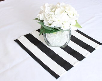 """Black and white striped placemat, 12x12"""", Wedding placemat, Wedding centerpiece, Table centerpiece, Birthday party, Table square"""